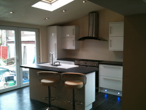 Garage Conversion into a kitchen in Irlam