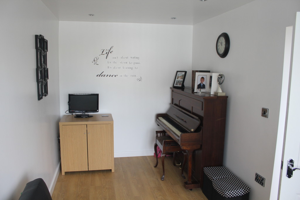 Garage conversion into music room